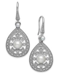 Macy's - Metallic Cultured Freshwater Pearl (2-1/2mm) And Diamond Accent Earrings In Sterling Silver - Lyst