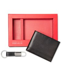 Perry Ellis Black Gift-boxed Saffiano Leather Wallet & Key Fob Gift Set for men