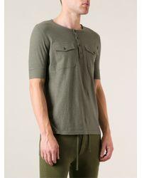 Balmain Green Henley T-Shirt for men