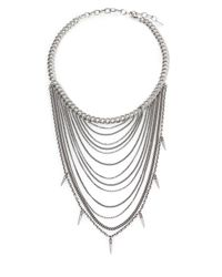 Chan Luu | Metallic Sterling Silver Draped Mixed Chain Spike Bib Necklace | Lyst