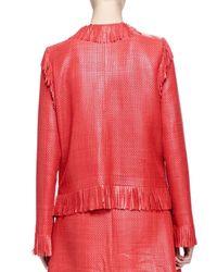 Lanvin - Red Woven Leather Fringe Jacket - Lyst