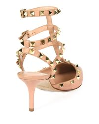 Valentino - Pink Rockstud Leather Pumps - Lyst