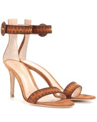 Gianvito Rossi Brown Embroidered Suede Sandals