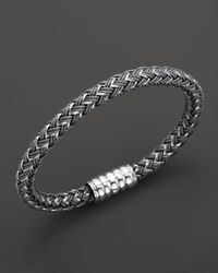 John Hardy - Metallic Mens Bedeg Silver Bracelet On Grey Nylon Cord for Men - Lyst