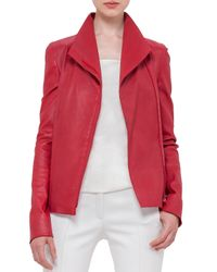 Akris Punto - Red Long-sleeve Stretch-leather Jacket - Lyst