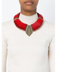 Sveva Collection | Red Embellished Choker Necklace | Lyst