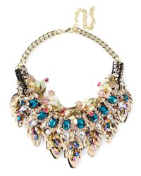 Night Market - Multicolor Golden Leaves Necklace - Lyst