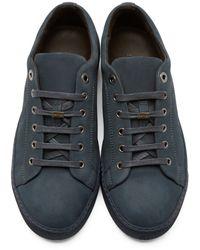 Lanvin | Blue Navy Nubuck Low-top Sneakers for Men | Lyst