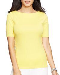 Lauren by Ralph Lauren Yellow Petite Stretch-cotton T-shirt