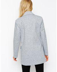 ASOS - Blue Summer Pea Coat In Texture - Lyst