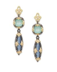 Armenta | Blue Old World Kyanite, Green Turquoise, Diamond, Oxidized Sterling Silver & 18k Yellow Gold Drop Earrings | Lyst