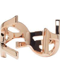 Saint Laurent   Pink Rose Gold Ysl Monogram Cuff   Lyst