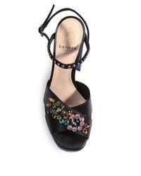 Lanvin - Black Embellished Two-tone Leather Platform Sandals - Lyst