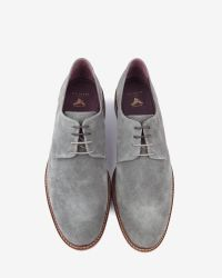 Ted Baker | Gray Classic Suede Derby Shoes for Men | Lyst