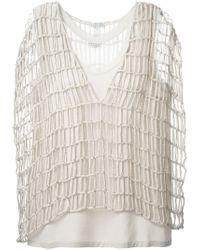 Brunello Cucinelli | Natural Open Knit Top | Lyst