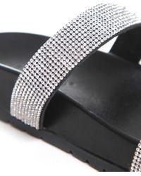 Inuovo Black Diamante Two Strap Sandals