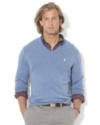 Polo Ralph Lauren - Blue Merino Wool V-Neck Sweater for Men - Lyst