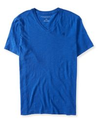 Aéropostale | Blue Solid V-neck Tee | Lyst
