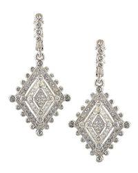 Judith Ripka | Metallic Medium Deco Estate White Sapphire Dangle Earrings | Lyst