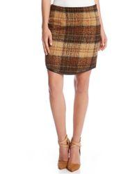 Karen Kane | Brown Curved Hem Plaid Pencil Skirt | Lyst