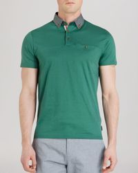 Ted Baker - Green Hazdeb Printed Collar Relaxed Fit Polo Shirt for Men - Lyst