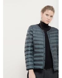 Violeta by Mango - Green Quilted Feather Coat - Lyst
