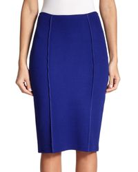 St. John | Blue Milano Knit Pencil Skirt | Lyst