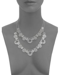 Ron Hami - Metallic Silver Lining Tiered Lace Coin Bib Necklace - Lyst
