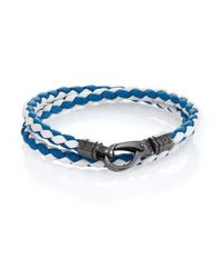 Tod's | Blue Leather Double-wrapped Bracelet | Lyst