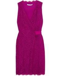 Diane von Furstenberg Purple Julianna Lace Wrap Dress