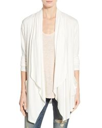 Bobeau - White Two-pocket Drape Front Cardigan - Lyst