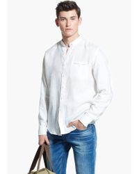 Mango White Slim-Fit Mao Collar Linen Shirt for men
