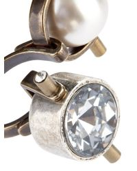 Lanvin Metallic Crystal And Faux-Pearl Ring