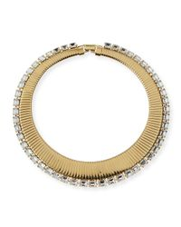 R.j. Graziano Metallic Collar Necklace With Crystals