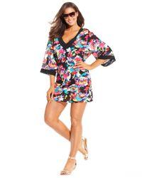 Anne Cole - Multicolor Plus Size Floral-Print Tunic Cover Up - Lyst