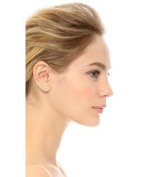 Rebecca Minkoff Metallic Crystal Ear Crawlers - Gold/clear