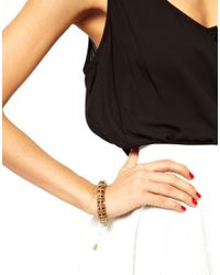 French Connection - Metallic Coco Shell Metal Disc Bracelet - Lyst