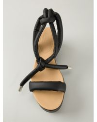 MM6 by Maison Martin Margiela - Black Flat Platform Sandals - Lyst