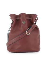 Tory Burch - Purple Brodie Pebbled Leather Bucket Bag - Lyst