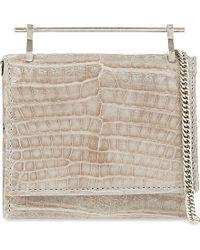 M2malletier | Gray Cabiria Python Leather Chain Purse, Women's, Light Grey Croc | Lyst