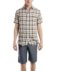 Rag & Bone - Natural Short Sleeve 3/4 Placket Shirt In Blue for Men - Lyst
