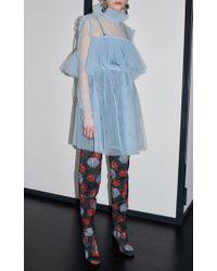 MSGM - Blue Light Tulle Babydoll Dress - Lyst