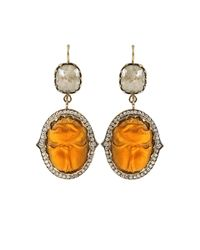 Sylva & Cie - Yellow Intaglio Scarab Diamond Earrings - Lyst