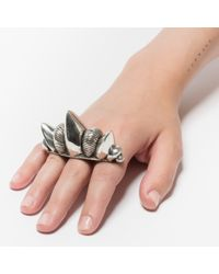 Pamela Love | Metallic Pave Three Finger Spike Ring | Lyst