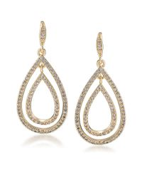 Carolee | Metallic Crystal Stems Goldtone Teardrop Earrings | Lyst