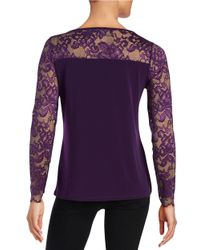 Ivanka Trump | Purple Lace Sleeve Blouse | Lyst