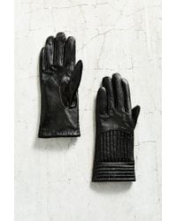 Urban Outfitters - Black Moto Rib Leather Glove - Lyst