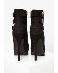 Forever 21 | Black Buckled Faux Suede Booties | Lyst