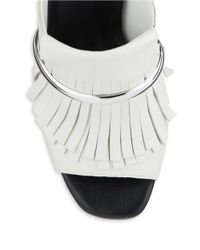 424 Fifth White Candis Leather Fringe Accented Open Toe Mules