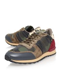 Valentino Brown Eagle Camo Runner Sneaker for men